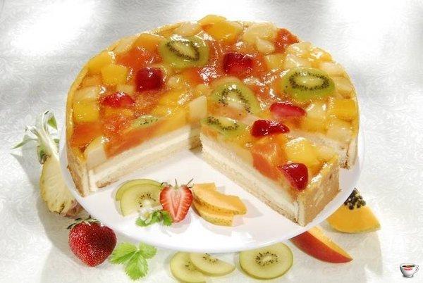 Как украсить торт фруктами в желе