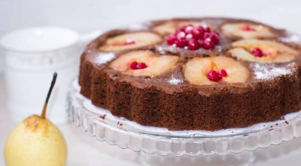 Итальянский шоколадный пирог с грушами