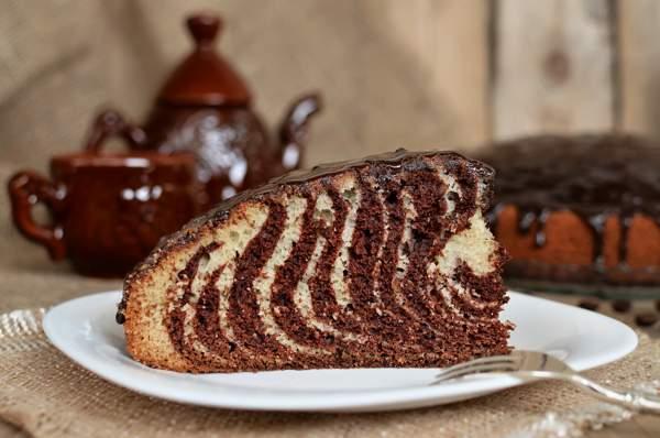 Зебра пирог на сметане