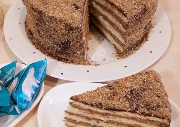 Торт «Мишка на севере» со белковым кремом